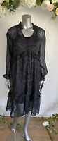 Influence Dress Size 8 & 12 Black Long Sleeve Paisley Print new HG85