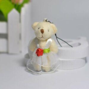 Pair of Mini Wedding Bears Bride & Groom Classic Style Teddy Favour Gift 5-7cm