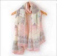 Women Casual Floral Paris Eiffel Tower Print Scarf Wrap Long Shawl Large Scarves