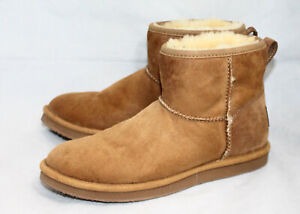 L.L. BEAN Wicked Good Shearling Ankle Boot Women 8B Chestnut Tan Suede