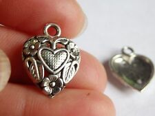 10 love charms pendants tibetan silver antique jewellery making wholesale UK L32