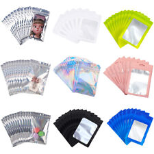 100Pcs Smell Proof Zip Seal Aluminium Heat Seal Mylar Foil Resealable Bags Pouch