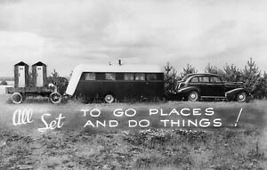 RV Trailer Camping 1938 Style Ma & Pa Outhouses Chevrolet Vintage Photo Reprint