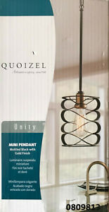 """Quoizel """"Unity"""" One Light Mini Pendant Light - Black with Gold Accents - 0809813"""
