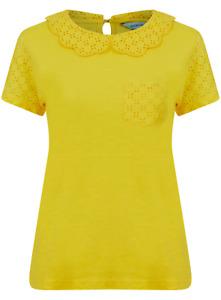 Brand New Ex Dickens & Jones Yellow Cotton Peter Pan Collar Top