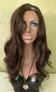 U-Part 100% Natural Real Human Hair Wig Dark Brown Body Wave 22 inches 180%