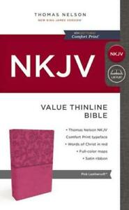 NKJV, Value Thinline Bible, Leathersoft, Pink, Red Letter, Comfort Print by T...