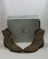 Ziginy Womens Brown Leopard Boots Sz 6.5M She's An Animal Stars Moon Ankle