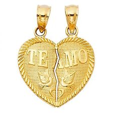 "14K Yellow Gold Small ""TEAMO"" Couple Broken Heart Pendant GJPT410"