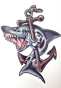 Shark with anchor Multi colour boys girls Temporary Tattoo  TY0231