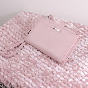 NWOT Steve Madden Blush Pastel Pink Zip Logo Clasp Wallet Wristlet Clutch