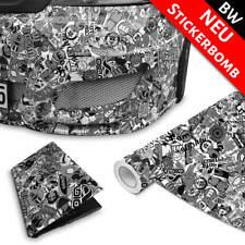 Stickerbomb Auto-Folie für 3D Car Wrapping Blasenfrei Special schwarz-weiß matt