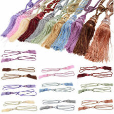 US 2x Window Curtain Tieback Rope Tassel Crystal Bead Drapery Tie Holdback Decor