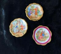 Lot of 3 Vintage Limoges France Fragonard Style Miniature Plates Hangers Stands