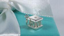 Tiffany & Co Diamond Atlas Cube Pendant Charm Roman Numerals Sterling Silver 925