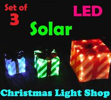 3 Solar LED PVC Striped Presents RED GREEN BLUE Outdoor Christmas Garden Lights