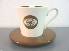 GOLD LEAF CBS ADVERTISING SERVICE AWARD 1950s ANTIQUE COFFEE MUG CUP WOOD SAUCER