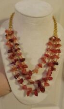 CHUNKY CARNELIAN Necklace - 3 Strands of Large Natural Carnelian Nuggets, 16-20""