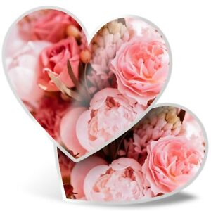 2 x Heart Stickers 15 cm - Pink Roses Tulips Carnations  #46106