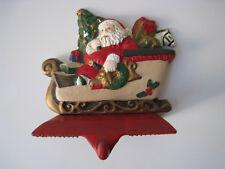 Santa In Sleigh Christmas Mantel Stocking Hanger Color Cast Iron 2.5 lbs. Rare