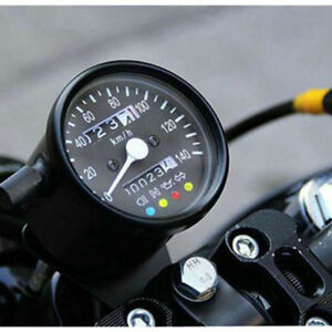 1pc Motorcycle Odometer Speedometer 12V black KMH LED Backlight Signal Light