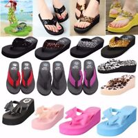 Women Summer Reef Slippers Ladies Thick Beach Flip Flops Wedge Sandals Shoes