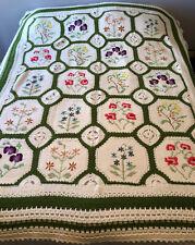 """Handmade Crochet Granny Afghan Blanket Flowers Green White 90""""x70"""" STUNNING"""