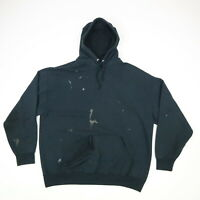 Destroyed Faded Black Fruit of the Loom Hooded Sweatshirt Distressed Grunge XL