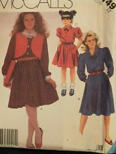 Sassy OOP McCALLS 2149 Girls Pullover Flared  Dress & Vest PATTERN 12/30B UC