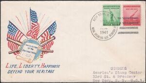 "U.S., 1941. Patriotic Cover WWII ""Flag-Constitution"", Naval Base, Bermuda"