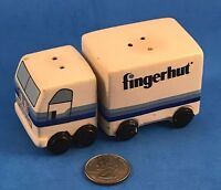 Vintage Fingerhut Semi Truck Tractor Trailer Salt and Pepper Shakers Ceramic (e)