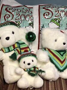 3-2005 Dayton Marshall Field Santa Bear Family w/Glass Ornament-2 Bags/Mrs/Baby