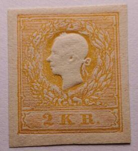Austria 1859 2k rare orange Orig gum. IMPERF (€5000 for perf).UNLISTED. Signed