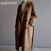 TOP Damenmantel Wollmischung Lapel Trenchcoats Kaschmir Outwear Maxi Lang Jacke