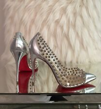 Christian Louboutin Spike Me Silver Studded Pump Clear PVC Size 38.5 Fit 37
