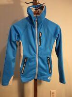 Womens Eddie Bauer First Ascent Full Zip Hooded Fleece Blue XS VGUC