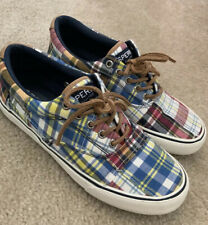 Mens Sperry Plaid Boat Shoes 7.5 Euc Worn Twice Top Sider Lace Up