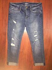 FOREVER 21 Women Juniors Blue Boyfriend Destroyed Ripped Denim Jeans 26 Cuffed