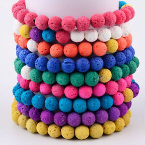 8MM Color Lava Stone Beads Bracelet Healing Yoga Oil Diffuser Handmade Bracelets