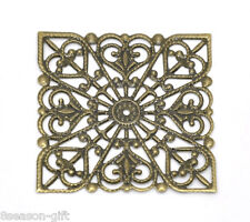 50 Bronze Tone Square Filigree Connectors Wraps 40mm