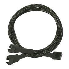 4 pin Fan Y Splitter Cable - 30CM Long Braided Black UK Seller Fast Post