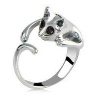 Fashion Silver Plated Kitten Cute Cat Tail Animal Black Crystal Eyes Fine Ring