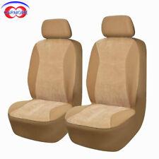 2 Front 6 PCS Car Seat Covers Beige Color - Corduroy Polyester Sponge Comfortabl