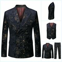 Male 3PCS Suit Double Breasted Printed Floral Formal Jacket Pants Vest Wedding