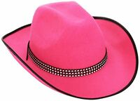 Cowboy Felt withStrass Band - Pink Cowboy Wild West Hats Caps  Headwear for Fan
