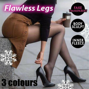 Legs Fake Translucent Warm Fleece Pantyhose Slim Stretchy for Winter Outdoor