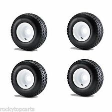 "Golf Cart 18x8.50-8 6 Ply Traction Tires mounted on 8"" White Wheels Set of 4"