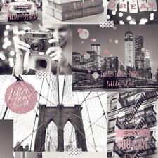 Wallpaper Muriva- Bright Lights Big City - Luxury Glitter NY Photo - Pink L31003