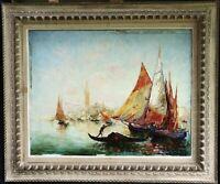 ITALO GIORDANI (1882-1956) SIGNED ITALIAN IMPRESSIONIST OIL VENICE BOATS LAGOON
