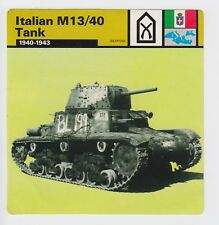 WW2 Italian M13/40 Tank - Colour Card - Printed in Italy - Imperial War Museum